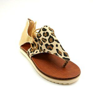 Womans Thong Leopard Look Rope Accent Sandal NEW